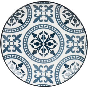 Maisons Du Monde Blue And White Earthenware Dessert Plate With Graphic Motifs 3611872050344, Blue