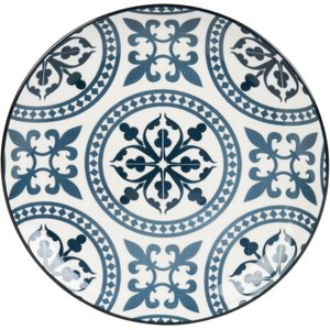 Maisons Du Monde Blue And White Earthenware Dessert Plate With Graphic Motifs 3611872050344 Tables, Blue
