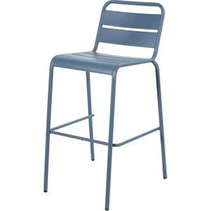 Maisons Du Monde Blue Grey Metal Garden Bar Chair Batignolles 3611871866335 Chairs, Blue