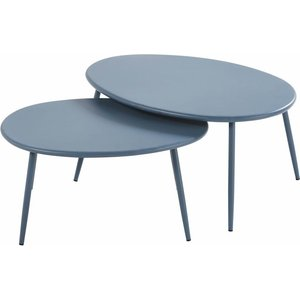 Maisons Du Monde Blue Grey Metal Garden Nest Of Tables Lumpa 3611871867011, Blue