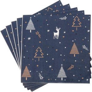 Maisons Du Monde Blue Paper Napkins With Reindeer And Christmas Tree Print (x20) 3611871859399 Tables, Blue