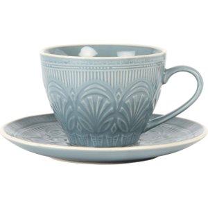 Maisons Du Monde Blue Patterned Earthenware Cup And Saucer 3611872015558 , Blue