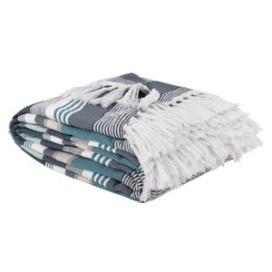 Maisons Du Monde Blue, White And Beige Deckchair-striped Throw With Fringes 240x270 3611872055660 Home Textiles, Blue