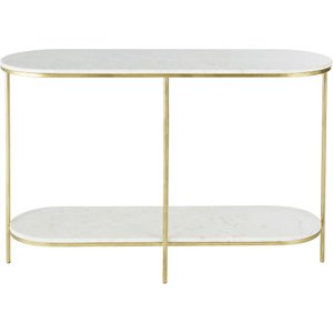 Maisons Du Monde Brass-coloured Metal And White Marble Console Table 3611871996988 Tables, White
