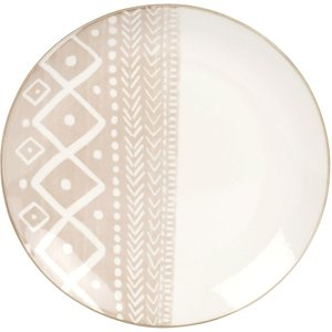 Maisons Du Monde Brown And White Printed Porcelain Dessert Plate 3611872012427 Tables, Brown
