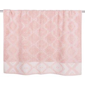 Maisons Du Monde Cotton Bath Sheet With Graphic Motifs 100x150 3611871783038 Home Textiles, Pink