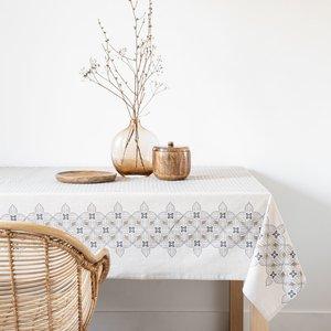 Maisons Du Monde Cotton Tablecloth With Beige, Brown And Grey Print 150x250cm 3611872113292 Home Textiles, Beige