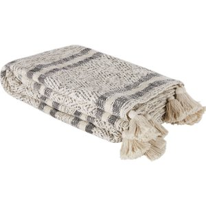 Maisons Du Monde Ecru And Black Cotton Throw With Gold Lurex And Pompoms 160x210cm 3611872106188 Home Textiles, Beige