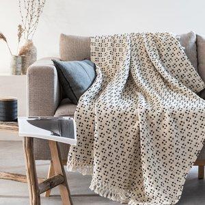 Maisons Du Monde Ecru And Black Cotton Throw With Woven Print 130x170cm 3611872121235 Home Textiles