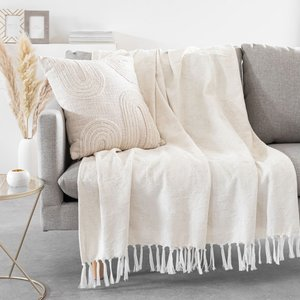 Maisons Du Monde Ecru Jacquard Woven Cotton Throw 150x200cm 3611872124830 Home Textiles, White