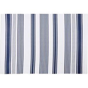 Maisons Du Monde Ecru Outdoor Rug With Blue Stripe Print 180x270 3611871885282 Home Textiles, Blue