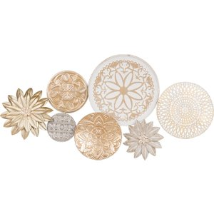 Maisons Du Monde Gold And White Metal Wall Art 90x44 3611871783489, Gold
