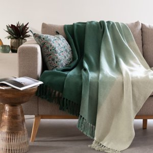 Maisons Du Monde Green Ombre Washed Cotton Throw 130x170cm 3611872113223 Home Textiles, Green