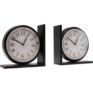 Maisons Du Monde Larry 2 Clock Bookends 2000001648988 Decorations, Black