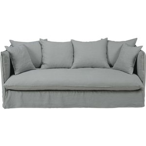Maisons Du Monde Light Grey 3/4-seater Washed Linen Sofa Louvre 3611871664795 Sofas, Grey