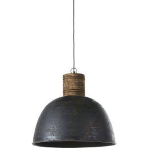 Maisons Du Monde Mango Wood And Aged-effect Metal Pendant Light D51 3611872002671 , Black