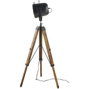 Maisons Du Monde Mango Wood And Black Metal Tripod Floor Lamp H130 3611871914661 , Black
