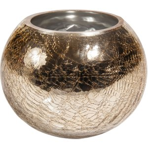 Maisons Du Monde Crackled Gold Glass Tealight Holder H 12 Cm 3611871628261 , Gold