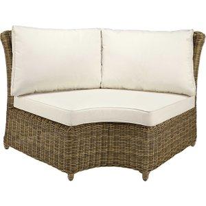 Maisons Du Monde Modular Round Garden Corner Sofa Unit In Grey Resin Wicker With Ecru Cushions St Raphaël 2000001659861 Sofas, Beige 156x86x89cm