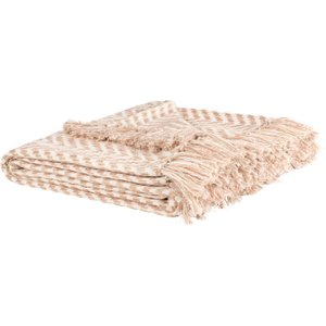 Maisons Du Monde Multicoloured Cotton Throw With Herringbone Motifs 160x210 3611872014575 Home Textiles, Beige