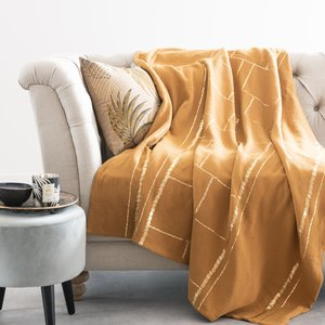 Maisons Du Monde Mustard Yellow Cotton Throw With Gold Print 130x170cm 3611872140373 Home Textiles, Yellow