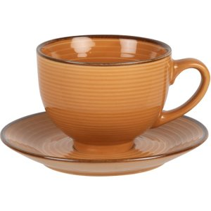 Maisons Du Monde Mustard Yellow Earthenware Cup And Saucer 3611872050573 , Yellow