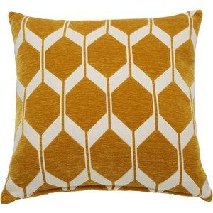Maisons Du Monde Mustard Yellow Velvet Cushion With Jacquard Print 60x60 3611871891962 Home Textiles, Yellow