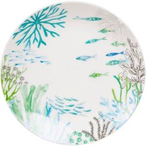Maisons Du Monde Nautical Print Porcelain Dessert Plate 3611871783694 , Blue
