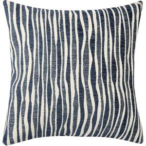 Maisons Du Monde Navy Blue Cushion Cover With Beige Stripes 40x40 3611871942923 Home Textiles, Blue