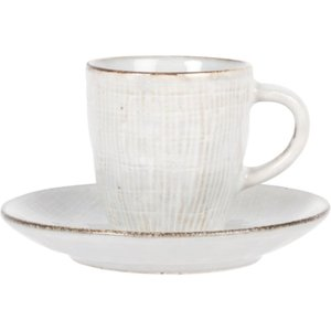 Maisons Du Monde Pale Grey Stoneware Cup And Saucer 3611872074838, Grey