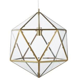 Maisons Du Monde Pendant Light In Bevelled Glass And Gold Metal 3611872107826 , Transparent