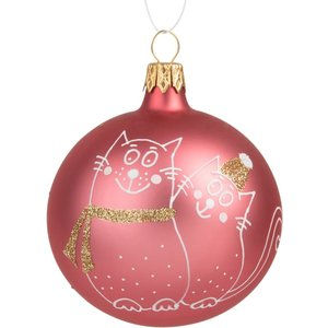 Maisons Du Monde Pink Glass Christmas Bauble With White And Gold Cats Print 3611871963034, Pink