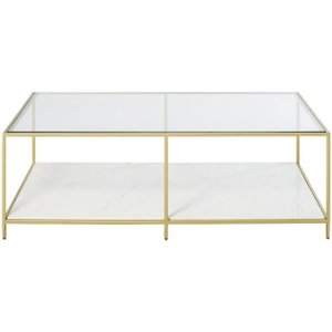 Maisons Du Monde Polished White Marble And Tempered Glass Coffee Table Janaé 3611871998036, Gold