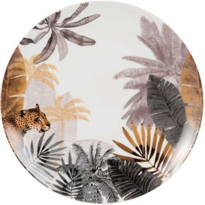 Maisons Du Monde Porcelain Dinner Plate With Panther Print 3611871846320 Tables, Multicoloured