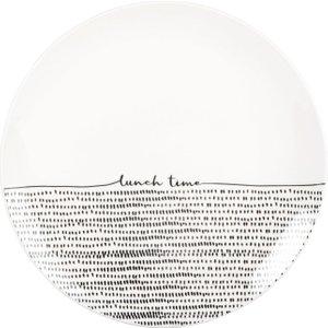 Maisons Du Monde Printed Black And White Porcelain Dinner Plate 3611872135256 , White