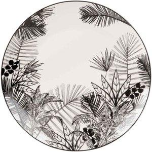 Maisons Du Monde Printed Black And White Porcelain Dinner Plate 3611871854950 , Black
