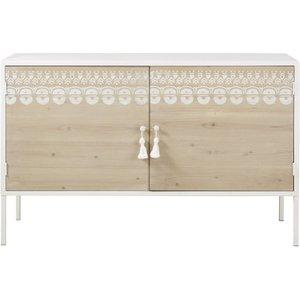 Maisons Du Monde Printed Solid Pine And White Metal 2-door Sideboard Latika 3611871874439 Storage