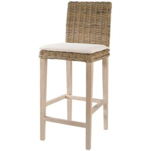 Maisons Du Monde Rattan And Solid Mahogany Bar Chair In Grey Finish Key West 3611871000630 Chairs, Beige