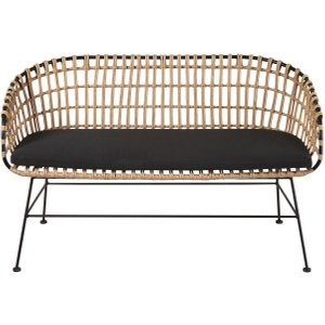 Maisons Du Monde Rattan Effect Resin And Black Canvas Garden Day Bed Kanpur 3611871870400 Sofas, Black