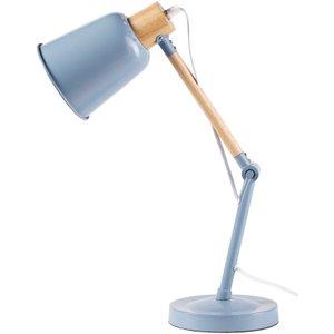 Maisons Du Monde Rubber Wood And Blue Metal Desk Lamp 3611871816507 , Blue