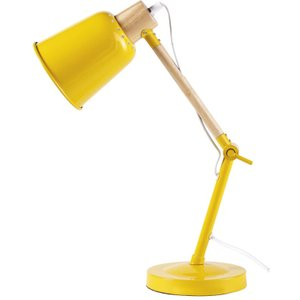 Maisons Du Monde Rubber Wood And Yellow Metal Desk Lamp 3611871816521 , Yellow