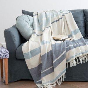 Maisons Du Monde Silver, Cream And Blue Striped Blanket 160x210 3611872047009 Home Textiles, Blue