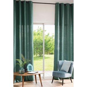 Maisons Du Monde Single Basil Green Washed Linen Eyelet Curtain 130x300 3611871779055 Home Textiles, Green