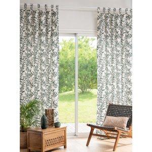 Maisons Du Monde Single Beige And Green Printed Cotton Eyelet Curtain 140x250cm 3611872116309 Home Textiles, Beige