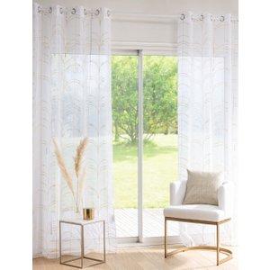Maisons Du Monde Single Ecru Voile Eyelet Curtain With Gold Print 135x250cm 3611872138196 Home Textiles, White
