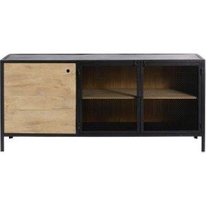 Maisons Du Monde Solid Mango Wood And Black Metal Industrial 3-door Sideboard Century 2000001755976 Storage
