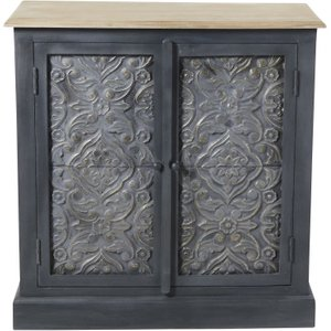 Maisons Du Monde Solid Mango Wood And Dark Grey Acacia 2-door Sideboard Wabi 3611871874156 Storage