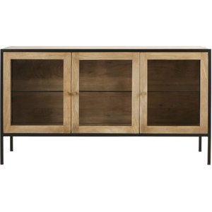 Maisons Du Monde Solid Mango Wood And Tempered Glass 3-door Sideboard 3611871989980