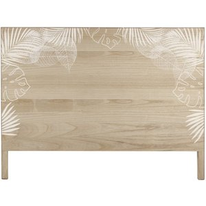 Maisons Du Monde Solid Pine 160 White Foliage Print Headboard 3611871988112 Tables, Brown