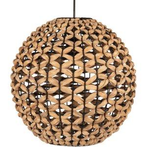 Maisons Du Monde Spherical Pendant Light In Black Metal And Plant Fibre 3611872097349, Beige